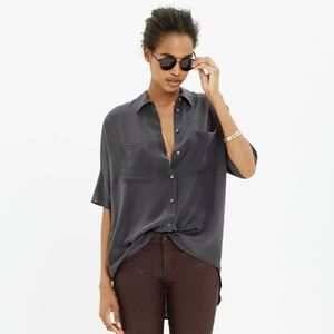 Madewell Silk Courier Shirt - Black Coal | Size XS